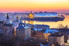 Άποψη του σταδίου Nizhny Novogorod, που χτίζει για το Παγκόσμιο Κύπελλο της FIFA του 2018 στη Ρωσία Στοκ Εικόνες