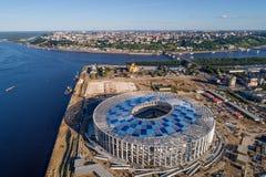Άποψη του σταδίου Nizhny Novogorod, που χτίζει για το Παγκόσμιο Κύπελλο της FIFA του 2018 στη Ρωσία Στοκ Φωτογραφίες
