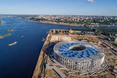 Άποψη του σταδίου Nizhny Novogorod, που χτίζει για το Παγκόσμιο Κύπελλο της FIFA του 2018 στη Ρωσία Στοκ εικόνες με δικαίωμα ελεύθερης χρήσης