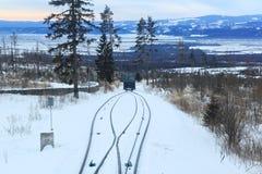 Άποψη του τελεφερίκ σιδηροδρόμου στο υψηλό εθνικό πάρκο βουνών Tatras στη Σλοβακία Στοκ Φωτογραφίες