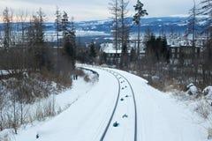 Άποψη του τελεφερίκ σιδηροδρόμου στο υψηλό εθνικό πάρκο βουνών Tatras στη Σλοβακία Στοκ εικόνα με δικαίωμα ελεύθερης χρήσης