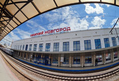Άποψη του τερματικού ραγών Moskovsky σε Nizhny Novgorod, Ρωσία Στοκ Εικόνες