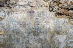 Άποψη του τοίχου που χρωματίζει βασισμένη στο βουδιστικό πολιτισμό στην περίοδο Ayuttaya σε Wat Ratchaburana που είναι ο αρχαίος  στοκ φωτογραφία με δικαίωμα ελεύθερης χρήσης