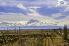 Άποψη του υποστηρίγματος Ararat όλο το καλυμμένο χιόνι Στοκ εικόνα με δικαίωμα ελεύθερης χρήσης