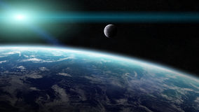 Άποψη του φεγγαριού κοντά στο πλανήτη Γη στο διάστημα Στοκ εικόνα με δικαίωμα ελεύθερης χρήσης