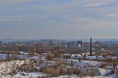 Άποψη του χειμώνα Sloviansk Ουκρανία από το λόφο Artyom microdistrict στοκ εικόνες