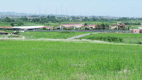 Άποψη του χωριού από έναν χορτοτάπητα απόθεμα βίντεο