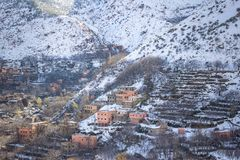 Άποψη του χωριού Imlil στο Μαρακές, Μαρόκο Στοκ εικόνα με δικαίωμα ελεύθερης χρήσης