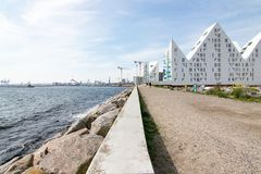 Άποψη του Ώρχους ø Δανία στη σύγχρονη αρχιτεκτονική και το λιμάνι Στοκ φωτογραφία με δικαίωμα ελεύθερης χρήσης