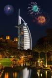 Άποψη του Al Άραβας Burj ξενοδοχείων από το παζάρι Madinat Jumeirah Στοκ Εικόνες