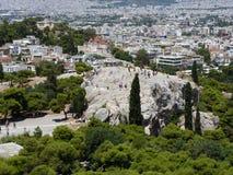 Άποψη του Areopagus από την ακρόπολη Στοκ Φωτογραφίες