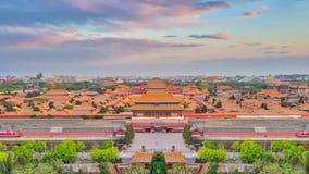 Άποψη του Ariel του ορίζοντα πόλεων του Πεκίνου με την απαγορευμένη ράχη πόλεων Στοκ εικόνα με δικαίωμα ελεύθερης χρήσης