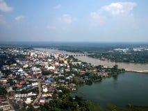 Άποψη του Ariel της επαρχίας Ubon Ratchathani εικονικής παράστασης πόλης στην Ταϊλάνδη Στοκ Φωτογραφία
