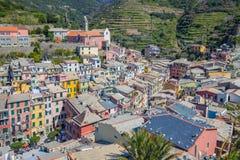 Άποψη του Ariel Vernazza ένα από Cinque Terre στην Ιταλία Στοκ Εικόνα