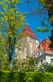 Άποψη του Château d'Ouchy, ένα παλάτι στη Λωζάνη Στοκ Φωτογραφία