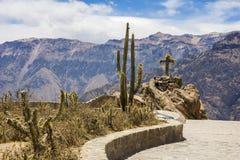 Άποψη του Cruz Del Condor, φαράγγι Colca, Arequipa, Περού Στοκ Φωτογραφίες