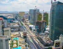 Άποψη του Las Vegas Strip από τη γέφυρα πύργων του Παρισιού Άιφελ Στοκ φωτογραφία με δικαίωμα ελεύθερης χρήσης