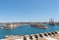 Άποψη των ανώτερων κήπων Barrakka στο Λα Valleta, Μάλτα στοκ φωτογραφία