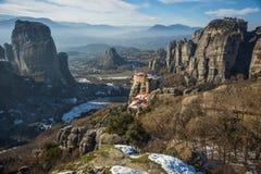 Άποψη των βουνών και των μοναστηριών Meteora το χειμώνα, Gree Στοκ Φωτογραφίες