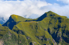 Άποψη των βουνών στη διαδρομή Pico Ruivo - Encumeada, νησί της Μαδέρας, Πορτογαλία, Ευρώπη Στοκ φωτογραφία με δικαίωμα ελεύθερης χρήσης
