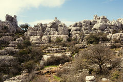 Άποψη των βράχων καρστ στη EL Torcal, Antequera Ισπανία Στοκ φωτογραφία με δικαίωμα ελεύθερης χρήσης