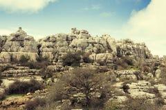 Άποψη των βράχων καρστ στη EL Torcal, Antequera Ισπανία Στοκ εικόνες με δικαίωμα ελεύθερης χρήσης