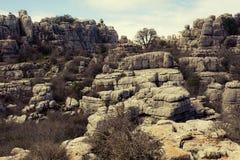 Άποψη των βράχων καρστ στη EL Torcal, Antequera Ισπανία Στοκ φωτογραφίες με δικαίωμα ελεύθερης χρήσης