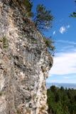 Άποψη των δέντρων απότομων βράχων και πεύκων μια ηλιόλουστη ημέρα στο resor σκι Στοκ φωτογραφία με δικαίωμα ελεύθερης χρήσης