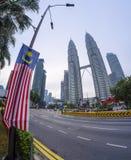 Άποψη των δίδυμων πύργων Μαλαισία Petronas Στοκ Φωτογραφίες