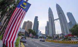 Άποψη των δίδυμων πύργων Μαλαισία Petronas Στοκ Εικόνες