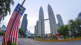 Άποψη των δίδυμων πύργων Μαλαισία Petronas Στοκ φωτογραφίες με δικαίωμα ελεύθερης χρήσης