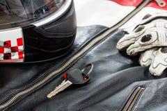 Άποψη των εξαρτημάτων αναβατών μοτοσικλετών Στοκ Φωτογραφία