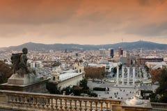 Άποψη των ισπανικών βημάτων στη Βαρκελώνη Στοκ Εικόνες