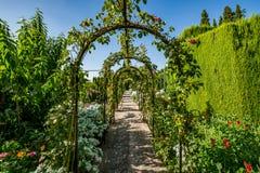 Άποψη των κήπων Generalife Alhambra Στοκ Φωτογραφία