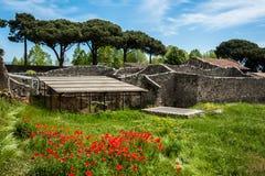 Άποψη των καταστροφών της Πομπηίας, Ιταλία Στοκ εικόνα με δικαίωμα ελεύθερης χρήσης