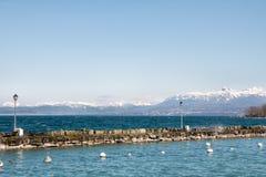 Άποψη των ορών από Yvoire, Γαλλία Στοκ Φωτογραφία