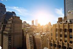 Άποψη των ουρανοξυστών στο Μανχάταν, πόλη της Νέας Υόρκης Στοκ εικόνα με δικαίωμα ελεύθερης χρήσης