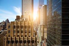 Άποψη των ουρανοξυστών στο Μανχάταν, πόλη της Νέας Υόρκης Στοκ Εικόνα