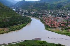 Άποψη των ποταμών Aragvi και Kura Στοκ Εικόνες