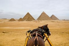 Άποψη των πυραμίδων από έναν γύρο αλόγων και μεταφορών Στοκ φωτογραφία με δικαίωμα ελεύθερης χρήσης