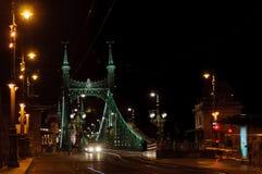 Άποψη των πόλεων της γέφυρας και Gelberbad ελευθερίας στη Βουδαπέστη τη νύχτα Στοκ φωτογραφίες με δικαίωμα ελεύθερης χρήσης