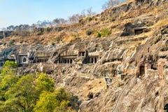 Άποψη των σπηλιών Ajanta Περιοχή παγκόσμιων κληρονομιών της ΟΥΝΕΣΚΟ Maharashtra, Ινδία στοκ εικόνα με δικαίωμα ελεύθερης χρήσης