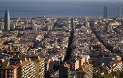 Άποψη των σπιτιών της πόλης της Βαρκελώνης Στοκ Εικόνες