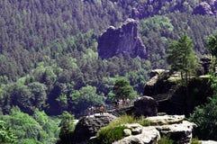 Άποψη των σχηματισμών βράχου στη Γερμανία Bastei Στοκ Εικόνα