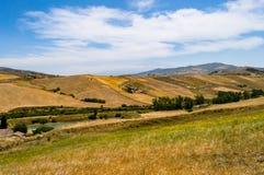 Άποψη των τομέων και των συγκομιδών κοντά στην πόλη Cesaro με et στοκ φωτογραφία με δικαίωμα ελεύθερης χρήσης
