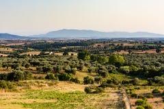 Άποψη των tuscan τομέων και των λόφων στην περιοχή Maremma στην Ιταλία Στοκ Φωτογραφίες