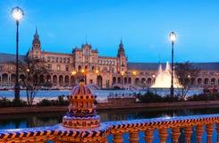 Άποψη λυκόφατος Plaza de Espana Σεβίλη Στοκ φωτογραφίες με δικαίωμα ελεύθερης χρήσης