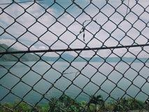 Άποψη υποβάθρου καλωδίων και λιμνών στοκ φωτογραφία με δικαίωμα ελεύθερης χρήσης