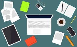 Άποψη υπολογιστών γραφείου Ο σύγχρονος εργαζόμενος γραφείων εργασιακών χώρων, freelancer, επιχειρηματίας, lap-top αναλυτών, έγγρα διανυσματική απεικόνιση