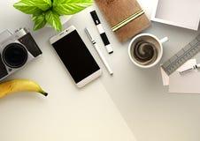 Άποψη υπολογιστών γραφείου γραφείων με τη Business Objects Στοκ εικόνες με δικαίωμα ελεύθερης χρήσης